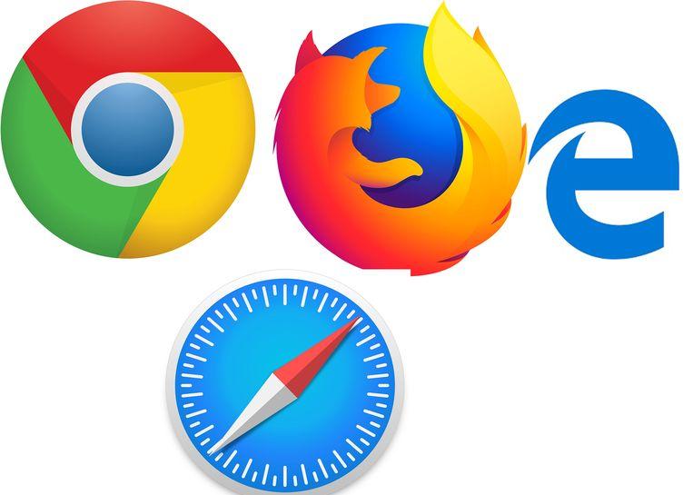 De vier webbrowsers, Chrome, Firefox, Edge en Safari.