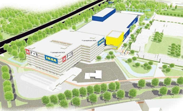 Een impressie van hoe de IKEA-vestiging aan de Antwerpse Noorderlaan er uit moest gaan zien.