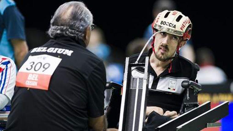 Pieter Cilissen met vader Nico tijdens de Paralympische Spelen in 2012.