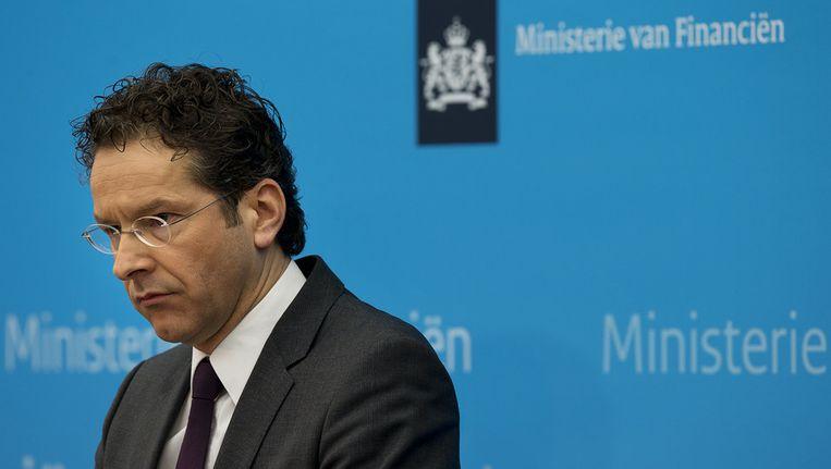 Minister Jeroen Dijsselbloem van Financien geeft toelichting op het besluit om SNS Reaal te nationaliseren. Beeld ANP