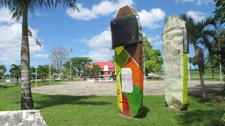 Monument voor Javaanse contractarbeiders, Fort Nieuw Amsterdam. Beeld Iñaki Oñorbe Genovesi