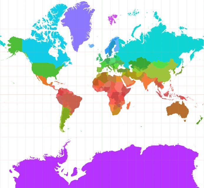 De Mercator-projectie is nog steeds de basis voor de meeste wereldkaarten.