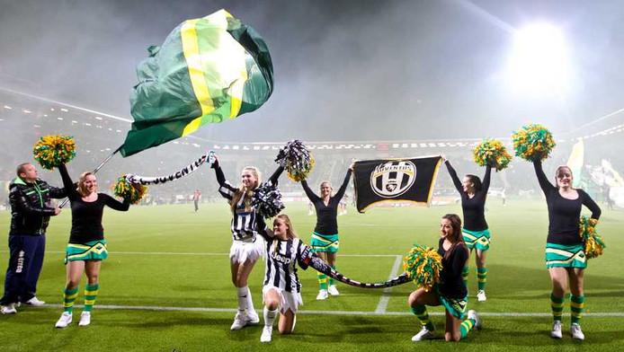 De cheerleaders van ADO Den Haag in het duel met Feyenoord van afgelopen weekend.