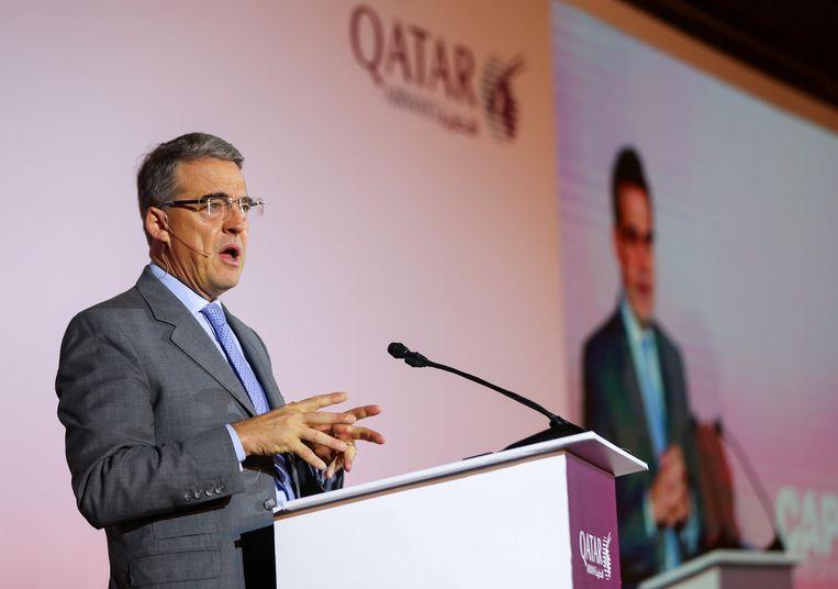 IATA-baas Alexandre de Juniac in Qatar, vorige maand.