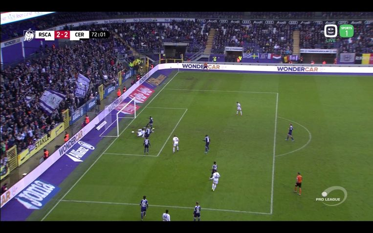 RSC Anderlecht - Cercle Brugge, afgekeurde goal Cercle