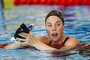 Femke Heemskerk na haar 100 meter vrije slag.