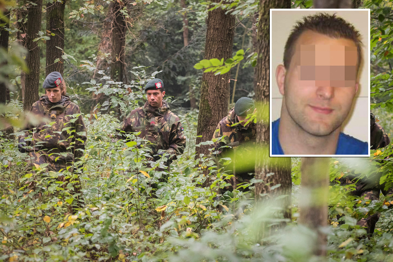 Militairen zoeken naar de vermiste Anne Faber. (Inzet verdachte Michael P.)