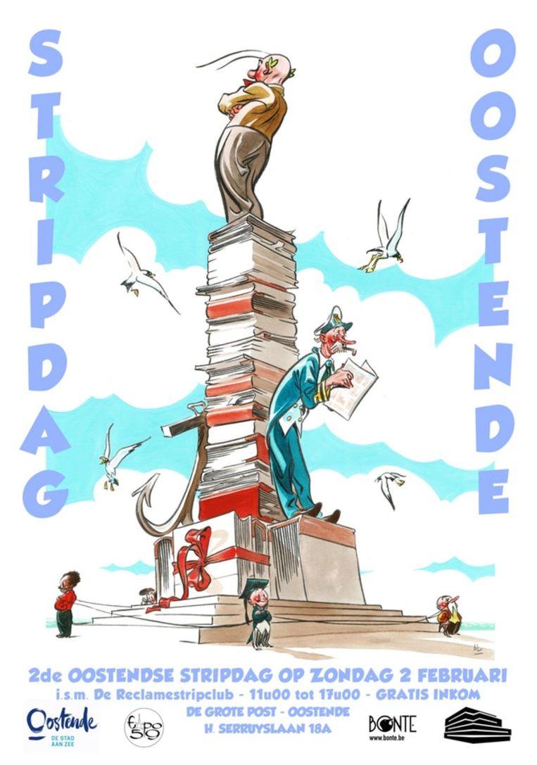 De affiche van de Stripnamiddag in Oostende, die ontworpen werd door Alec Severin, zal gratis verkrijgbaar zijn