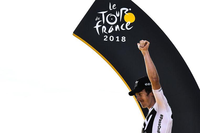 Geraint Thomas op het finale Tourpodium.