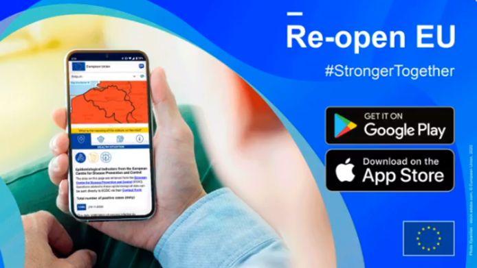 De smartphoneapp 'Re-open EU' kan vanaf vandaag/maandag gratis gedownload worden.
