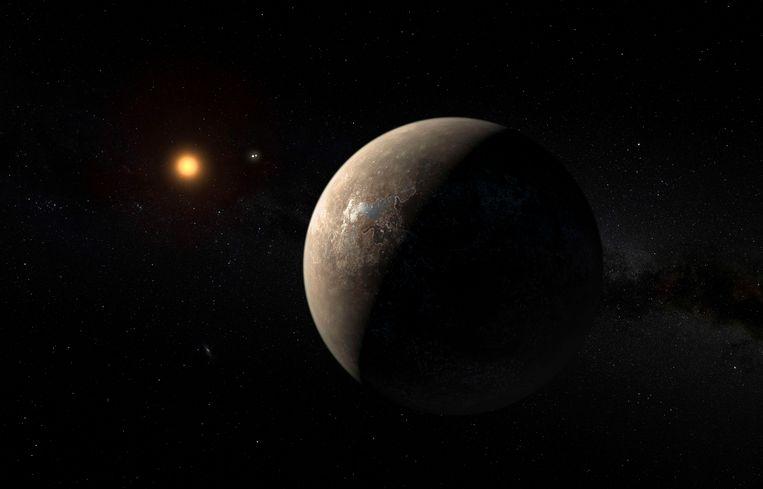 De planeet Proxima b cirkelend rond Proxima Centauri.