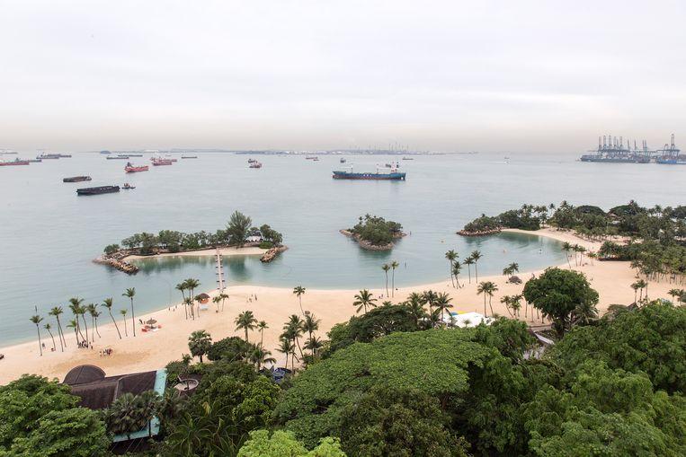 Het eiland Sentosa waar de top mogelijk zal plaatsvinden. Singapore wordt gezien als een neutrale locatie voor beide leiders. Beeld Getty Images