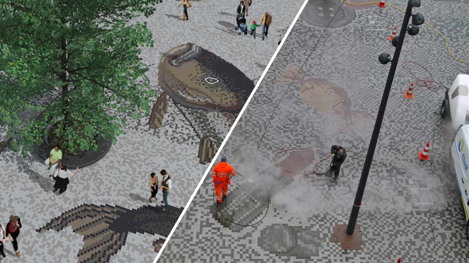 Verwachting (links) en de realiteit (rechts) van het mozaïek op het Vredenburgplein.