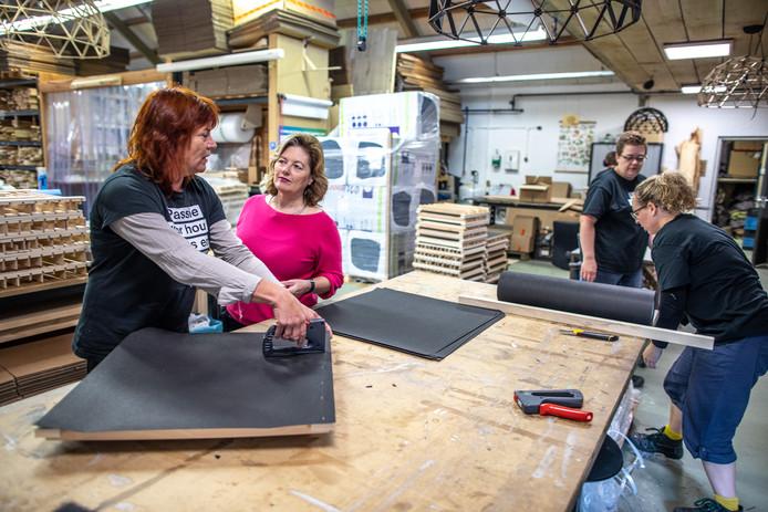Jolien Elshof (roze trui) bij sociale onderneming Binthout in gesprek met medewerker Marjan Vos. Zij werkt aan plafondpanelen voor hogeschool Windesheim. Bij Binthout werken mensen met een afstand tot de arbeidsmarkt. Zij maken producten van regionaal beschikbaar hout.