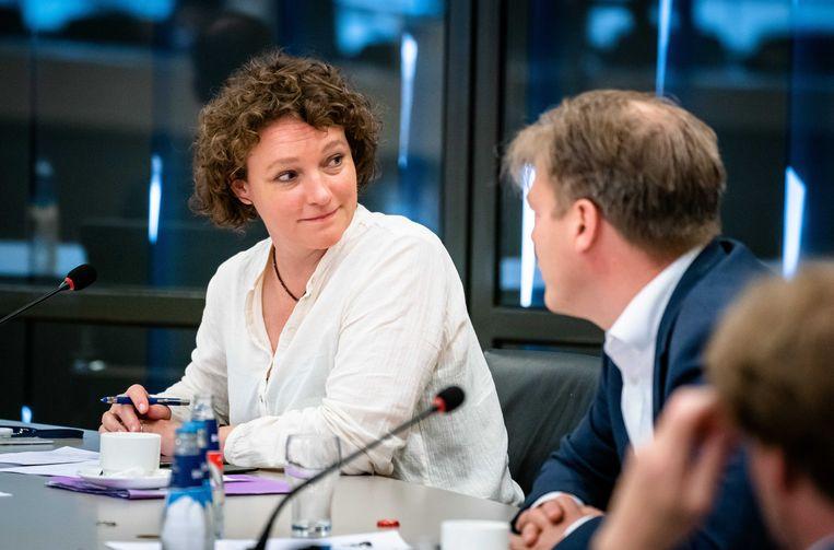 Renske Leijten (SP) tijdens een Kamerdebat over de toekomst van het toeslagenstelsel. Beeld ANP
