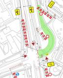 KWS Infra schetst hoe het aanbrengen van nieuw asfalt in de ongelukkenbocht aan de Laan van de Mensenrechten (groen) in Apeldoorn wordt gecombineerd met rioleringswerkzaamheden.
