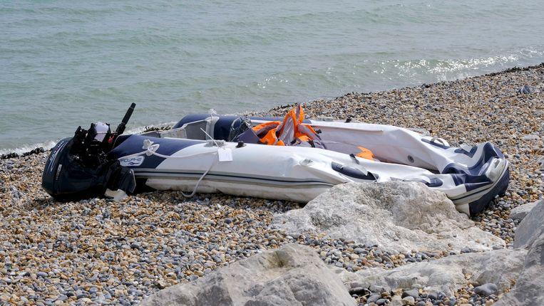 Een boot aan de Britse kust die is gebruikt door migranten die de oversteek hebben gemaakt. Beeld Getty Images
