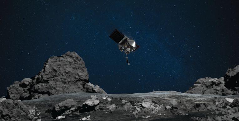 Ruimtecapsule Osiris-Rex is in een lage baan boven de planetoïde Bennu gebracht. Beeld Nasa