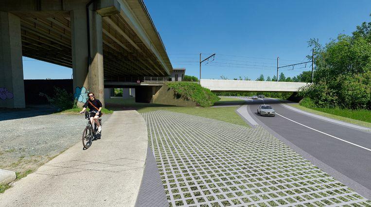 De Aarschotsesteenweg onder de Duitse brug (links) wordt verlegd onder de nieuwe spoorwegbrug (rechts), die er al ligt sinds 2013.