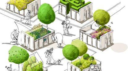 21 mobiele containers kleuren centrum groen