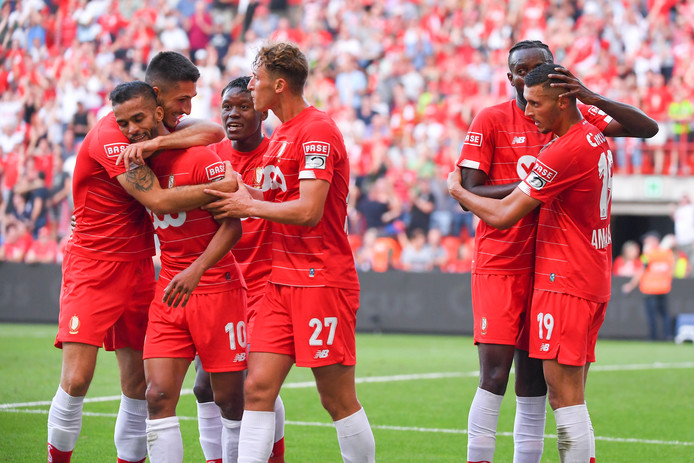LIEGE, BELGIUM - AUGUST 25 : Medhi Carcela midfielder of Standard Liege, Selim Amallah midfielder of Standard Liege celebrates scoring a goal with teammates during the Jupiler Pro League match between Standard Liege and KV Kortrijk on August 25, 2019 in Liege, Belgium, 25/08/2019 ( Photo by Vincent Kalut / Photonews