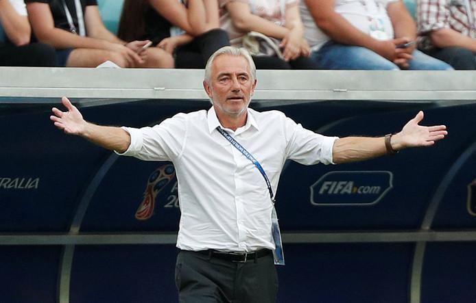Bert van Marwijk als bondscoach van Australië op het WK 2018 in Rusland.