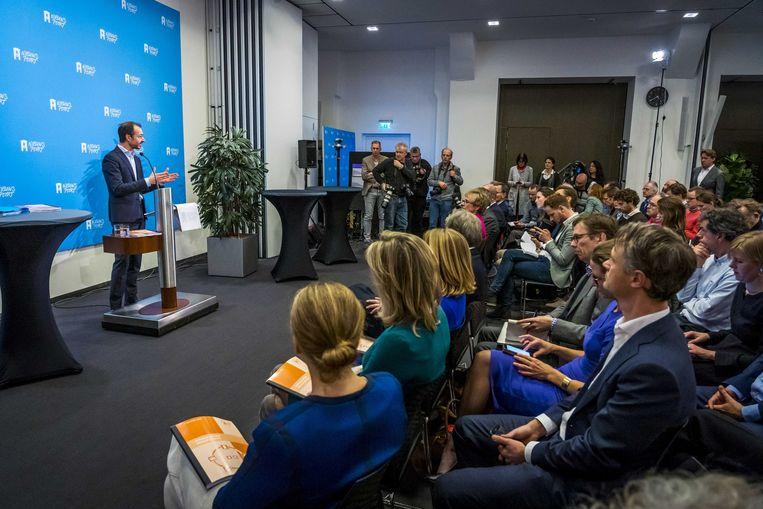 Presentatie van het ontwerp-klimaatakkoord om Nederland duurzamer te maken. Beeld ANP