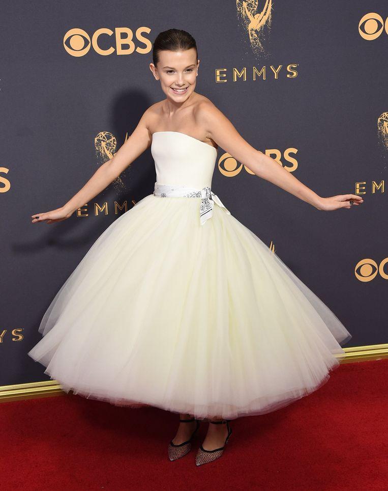Eveneens in een jurk van Calvin Klein.