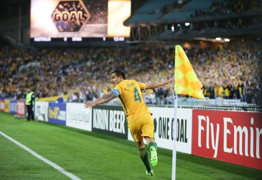 Tim Cahill viert zijn eerste doelpunt tegen Syrië.