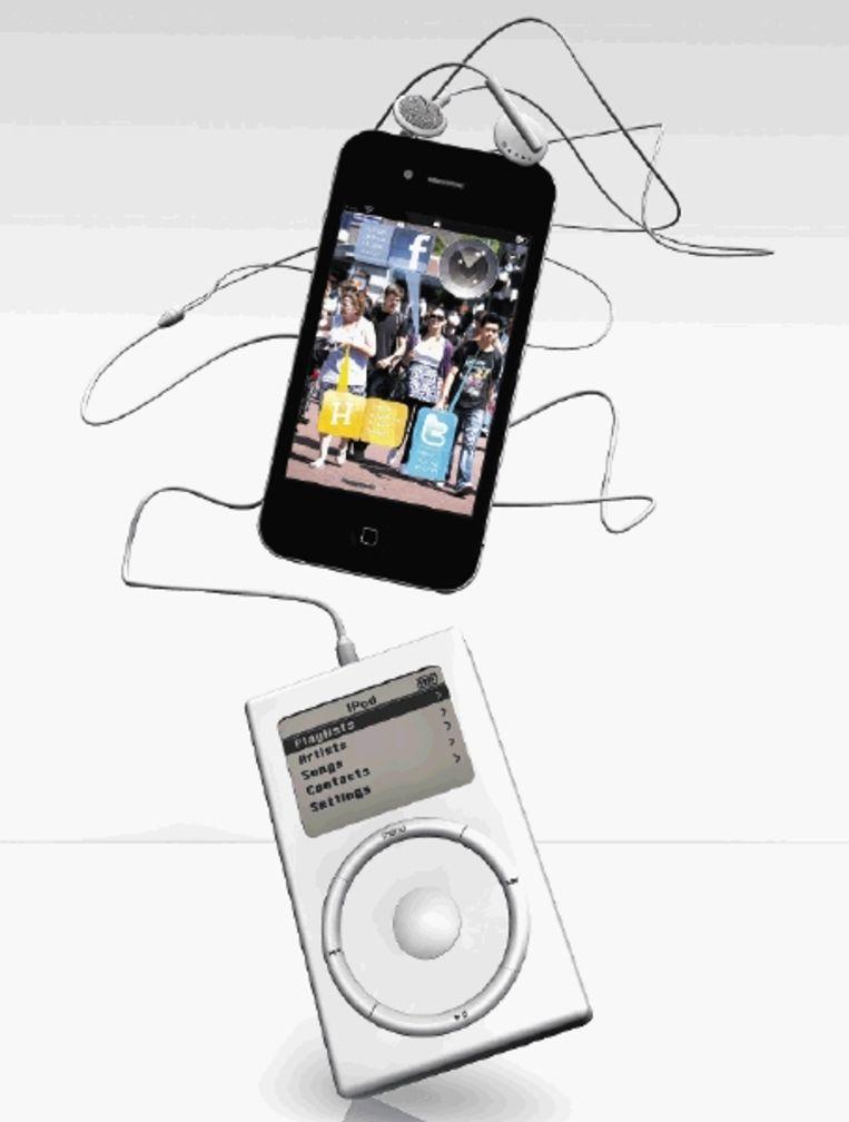 De iPod bestaat bijna tien jaar. Sindsdien is ons leven ingrijpend veranderd. (ILLUSTRATIE JÃ¿RGEN CARIS) Beeld