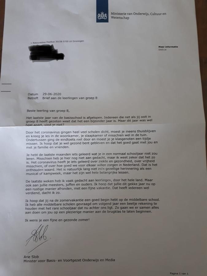 Brief Arie Slob aan leerlingen van groep 8.