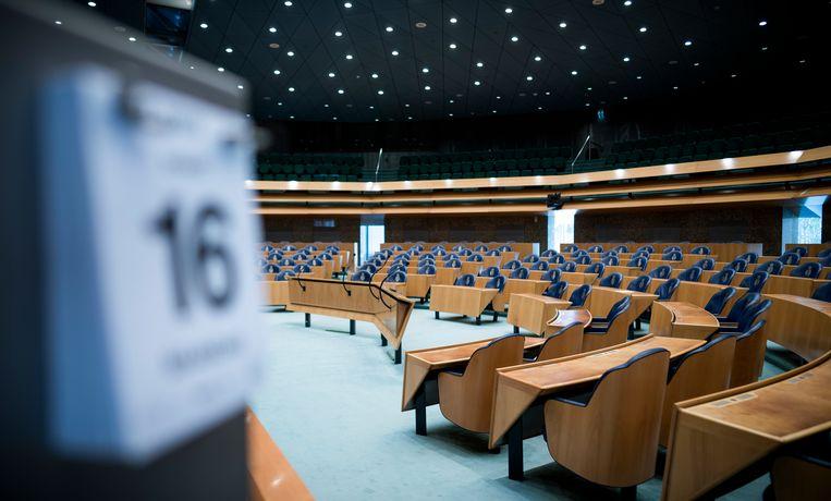 De Tweede Kamer heeft besloten om de hoeveelheid vergaderingen te beperken tot het broodnodige. Het resultaat is een uitgestorven Huis van de Democratie. Beeld Freek van den Bergh / de Volkskrant