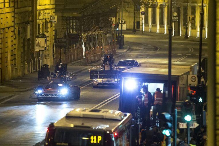 Opnames van de nieuwe Bond-film Spectre in de straten van Rome. Beeld anp