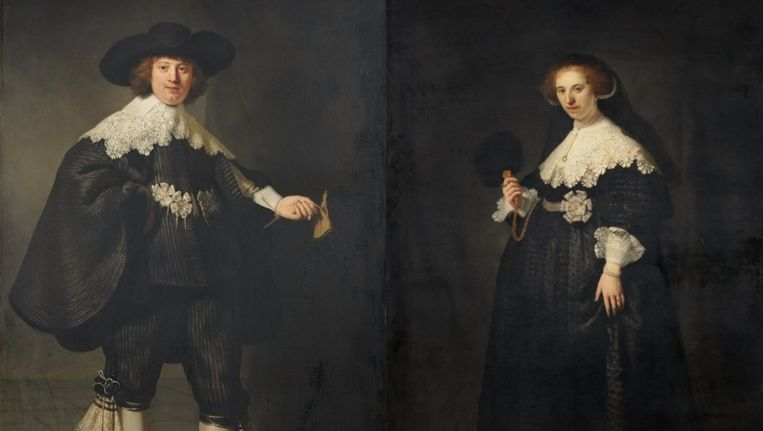 De twee schilderijen van Rembrandt die in de verkoop staan. Beeld anp