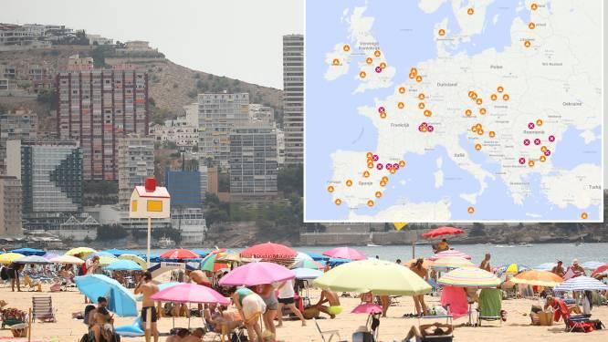 IN KAART. Deze Europese reisbestemmingen kleuren oranje of rood