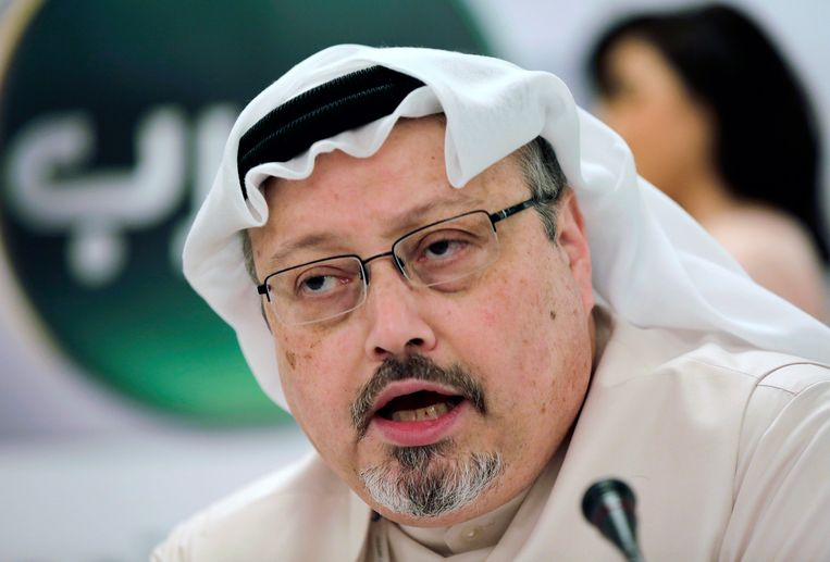 Jamal Khashoggi tijdens een persconferentie in 2014.  Beeld AP