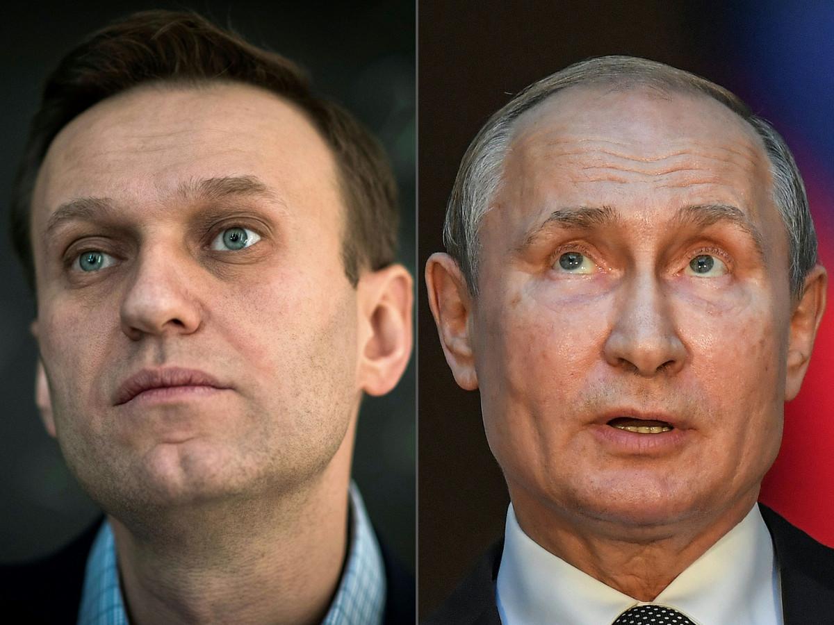 De Russische oppositieleider Aleksej Navalny (l) en de Russische president Poetin.