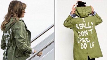 """Melania bezoekt kinderen bij Mexicaanse grens, maar tekst op haar jas trekt alle aandacht: """"I really don't care, do you?"""""""