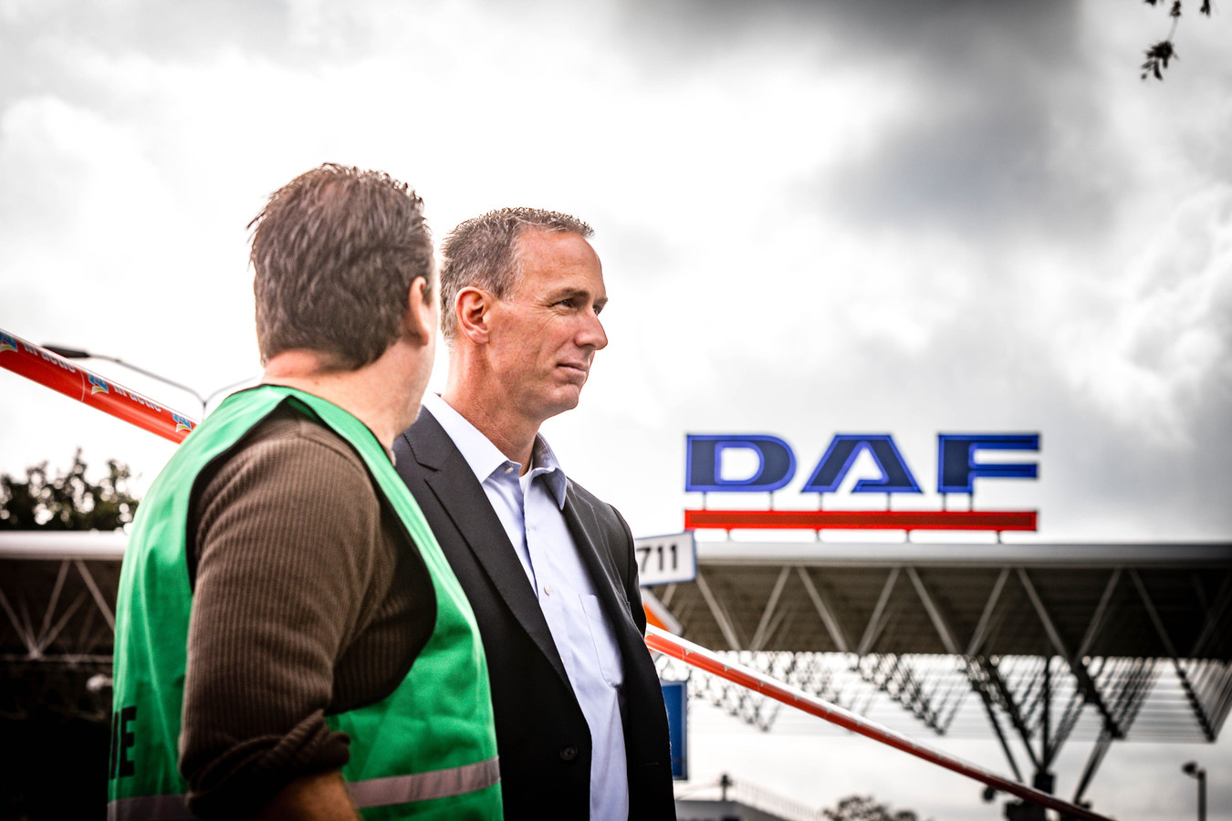 Algemeen Directeur Preston Feight van vrachtwagenfabrikant DAF tijdens een 24-uursstaking van het personeel, vorige week.