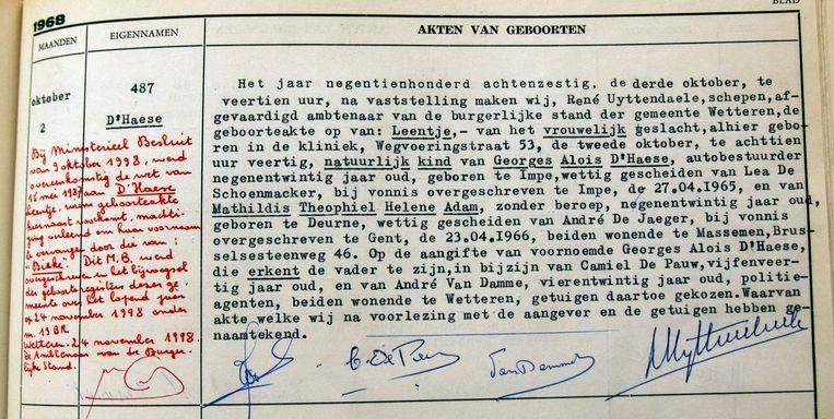 De geboorteakte van Bieke (Leentje) D'Haese.