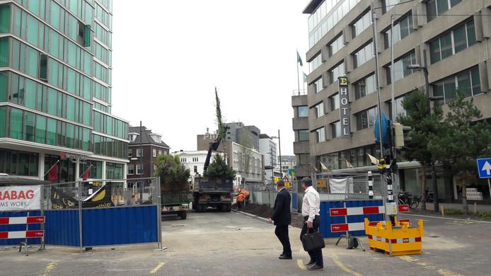 Op het stuk Vestdijk tussen Dommelstraat en Kanaalstraat in Eindhoven zijn inmiddels de bomen geplant. Na Pasen gaan de hekken weg.