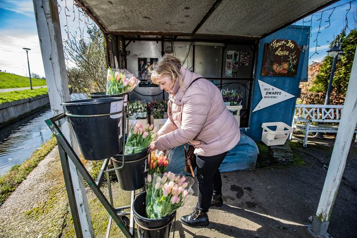 Ilze Visser, een van de oprichters van de Facebook-groep 'Fietsen voor m'n bloemen' koopt een bosje tulpen bij een kraampje langs de Zijdijk in 's-Gravenzande.