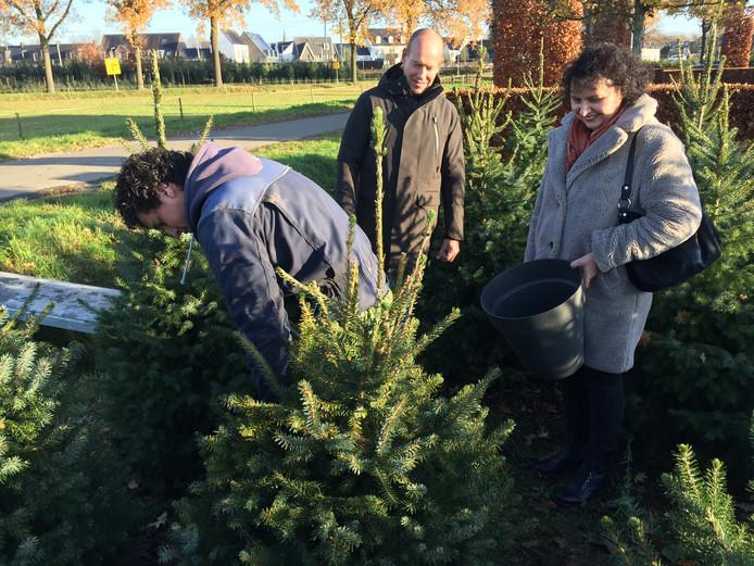 De heer en mevrouw Janssen uit Berkel-Enschot laten hun kerstboom op het land uitsteken