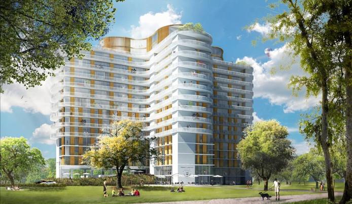 Zo kan het TD-gebouw er gaan uitzien volgens het plan van het vastgoedduo Foolen en Reijs en Diederendirrix Architecten.