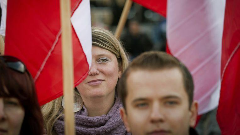 Polen demonstreren op het Plein in Den Haag tegen het Polenmeldpunt van Geert Wilders. (Archiefbeeld) Beeld anp