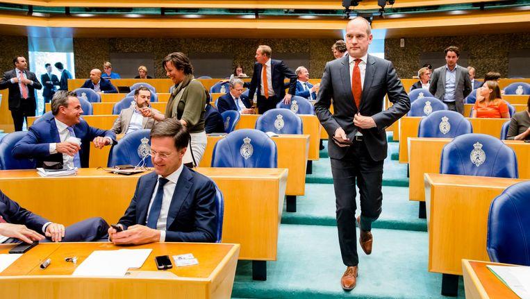Gert-Jan Segers bij het debat over het verloop van de formatie. Beeld anp