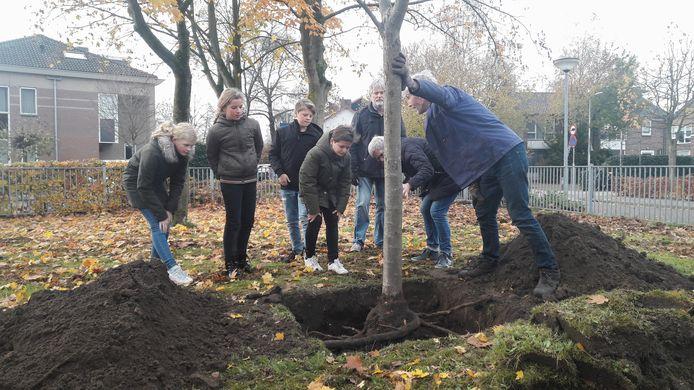 Met hulp van leerlingen werd de boom geplant. Henk Jansen van IVN Almelo houdt de boom vast. Daarachter Huub Kok van het Wevershuisje. Luca Friesacher staat midden voor.