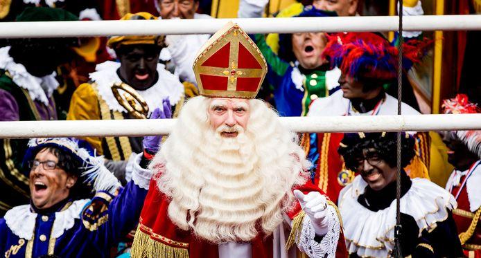 Sinterklaas en zijn pieten, vorig jaar tijdens de intocht in Dokkum.