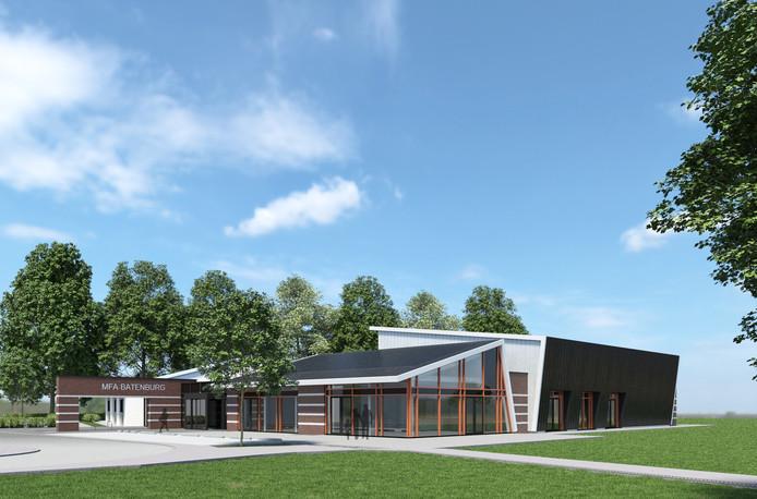 De te bouwen multifunctionele accommodatie in Batenburg, gezien vanaf de Hoppenhofstraat.