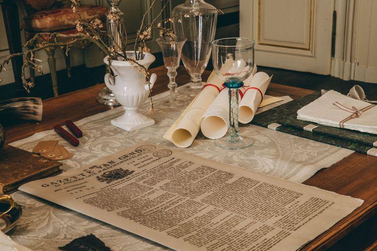 Het bureau in de kamer van de graaf.